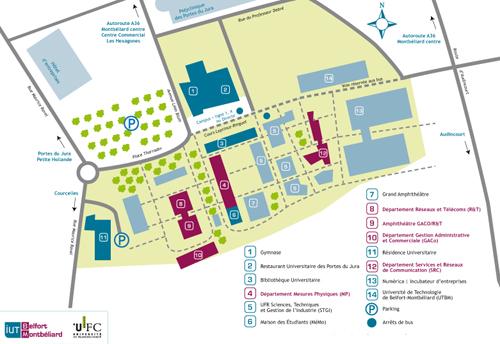 plan du campus de Montbéliard